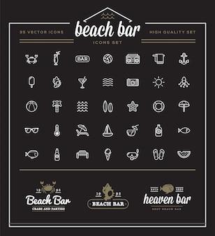 L'ensemble d'éléments vectoriels beach sea bar et summer peut être utilisé comme logo ou icône de qualité supérieure