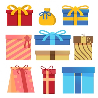 Ensemble d'éléments vectoriels de boîte cadeau