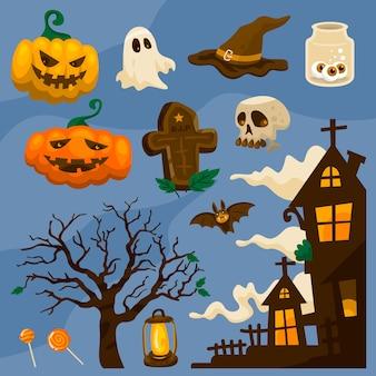 Ensemble d'éléments vectoriels halloween