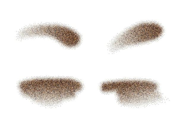 Ensemble d'éléments vectoriels en poudre de poivre noir moulu