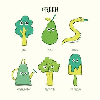 Ensemble d'éléments de vocabulaire vert en anglais