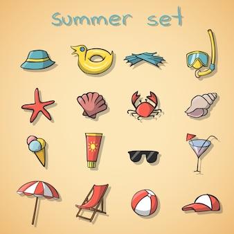 Ensemble d'éléments de voyage de vacances d'été
