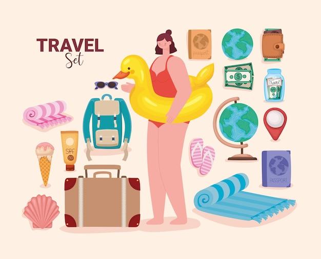 Ensemble d'éléments de voyage