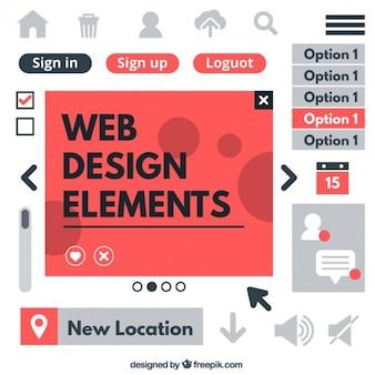 Ensemble d'éléments web et des icônes