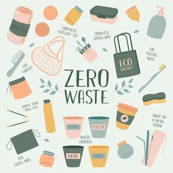 Ensemble d'éléments zéro déchet dessinés à la main. eco vert. moins de plastique. respectueux de la nature. eco vert. eco life. jour de la terre.