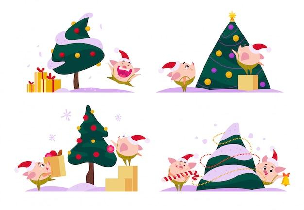 Ensemble d'elfe de porc de noël plat en bonnet de noel dans différentes situations - décoration d'arbre, transportez une boîte cadeau, tenant un énorme sac avec des cadeaux, etc. style de bande dessinée.