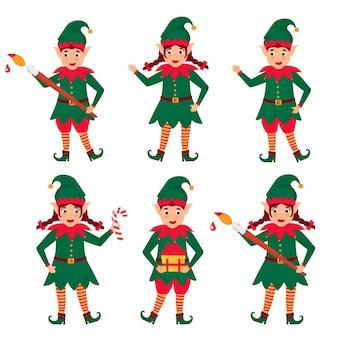 Ensemble d'elfes de noël drôles. personnage de dessin animé.