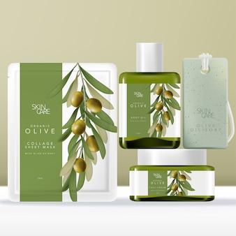 Ensemble d'emballage de beauté à l'huile d'olive avec pochette de masque, paquet ou sachet, bouteille et pot de sérum en verre vert teinté, savon sur corde. illustration d'olive imprimée.