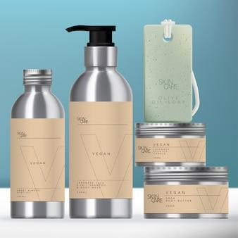 Ensemble d'emballage de boisson ou de beauté en aluminium avec bouteille à pompe à bouchon à vis, pot et savon sur corde.