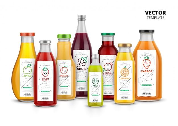 Ensemble d'emballage de bouteilles en verre réaliste de jus de fruits frais