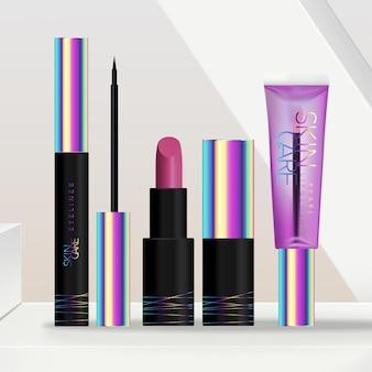 Ensemble d'emballage de maquillage holographique foncé ou noir pour cosmétiques ou cosmétiques avec rouge à lèvres, tube de brillant à lèvres et emballage d'eye-liner. fond de plate-forme géométrique minimale.