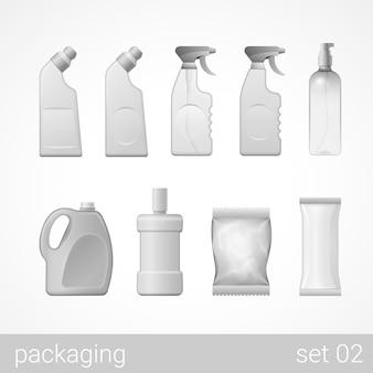 Ensemble d'emballage en plastique de savon de shampoing en spray détergent nettoyant