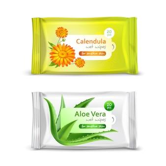 Ensemble d'emballage réaliste pour serviettes humides avec calendula et aloe vera isolé illustration 3d