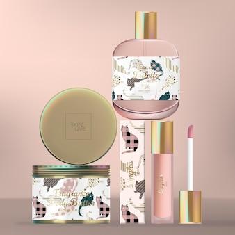 Ensemble d'emballage de soins de la peau ou de beauté avec bouteille en verre de parfum, pot de crème pour le corps et tube de brillant à lèvres.