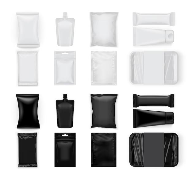 Ensemble d'emballages alimentaires blancs et noirs isolés