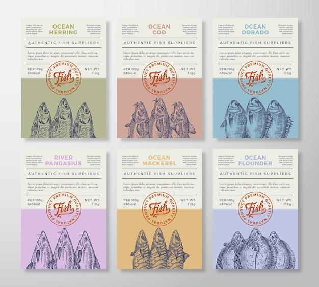 Ensemble d'emballages ou d'étiquettes de fruits de mer
