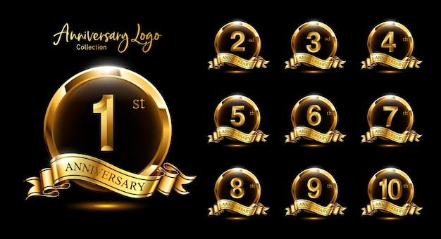 Ensemble emblème premium anniversaire doré