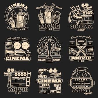 Ensemble d'emblème sombre de cinéma