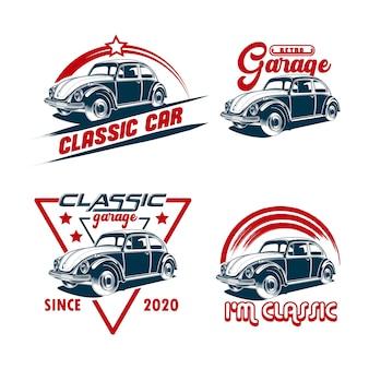 Ensemble d'emblème vintage de voiture rétro
