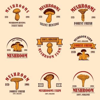 Ensemble d'emblèmes aux champignons. élément de design pour affiche, logo, étiquette, signe, badge. illustration vectorielle