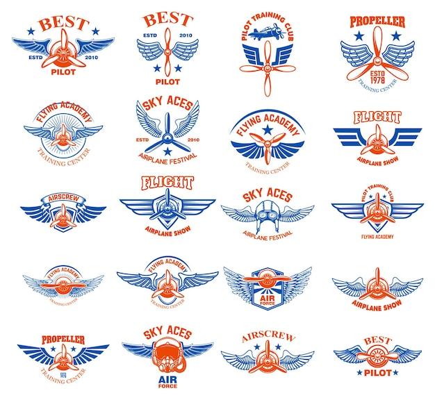 Ensemble d'emblèmes d'avion vintage. éléments de conception pour logo, étiquette, signe, menu.