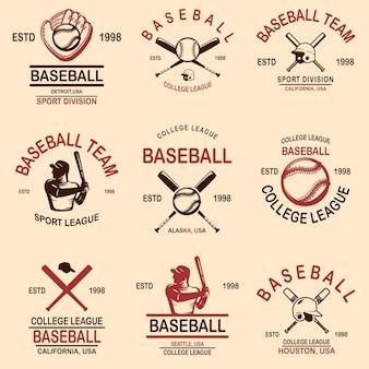 Ensemble d'emblèmes de baseball.