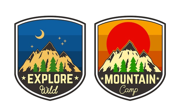 Ensemble d'emblèmes de camping de montagne. élément pour logo, étiquette, signe, affiche, t-shirt. illustration