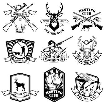 Ensemble d'emblèmes de chasse