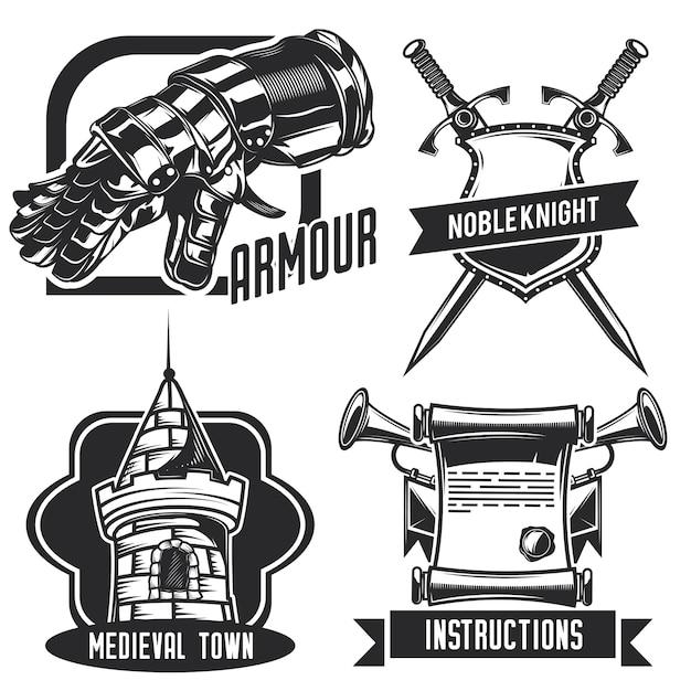 Ensemble d'emblèmes de chevalier, étiquettes, insignes, logos. isolé sur blanc