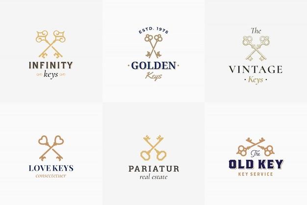 Ensemble d'emblèmes clés rétro de vecteur. signes abstraits, symboles ou modèles de logo. différentes sillhouettes de touches croisées avec typographie vintage chic. isolé.