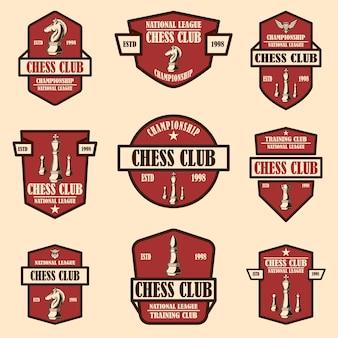Ensemble d'emblèmes de club d'échecs. élément de design pour affiche, logo, étiquette, signe.