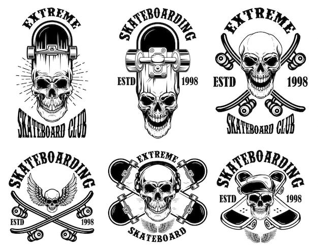 Ensemble d'emblèmes de club de skateboard avec des crânes. élément de design pour affiche, logo, signe, étiquette, t-shirt.