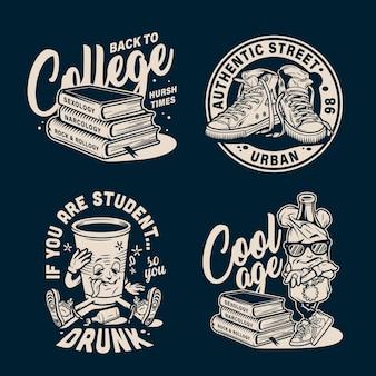 Ensemble d'emblèmes de collège vintage