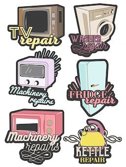 Ensemble d'emblèmes colorés de réparation d'appareils ménagers