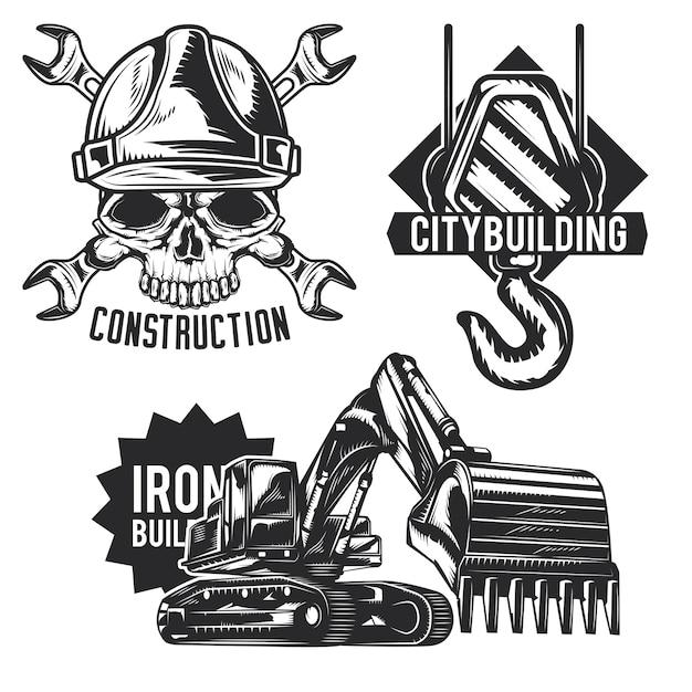 Ensemble d'emblèmes de construction, étiquettes, badges, logos.