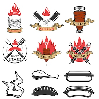 Ensemble d'emblèmes et d'éléments de restauration rapide. doner kebab. éléments de conception pour logo, étiquette, emblème, signe. illustration