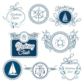 Ensemble d'emblèmes d'esquisse de yachts