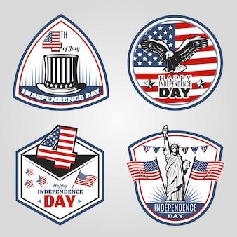 Ensemble d'emblèmes de la fête de l'indépendance vintage colorés