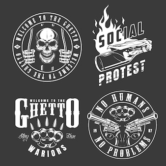 Ensemble d'emblèmes de gangster