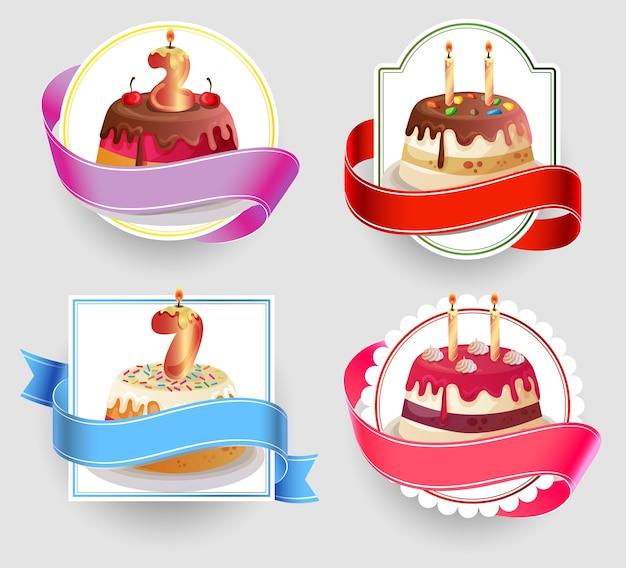 Ensemble d'emblèmes de gâteaux d'anniversaire