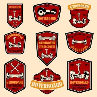 Ensemble d'emblèmes de hoverboard.