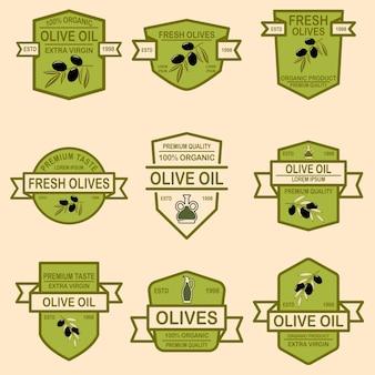 Ensemble d'emblèmes d'huile d'olive.