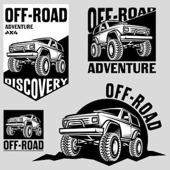 Ensemble d'emblèmes, d'insignes et d'icônes de voitures suv tout-terrain classiques. voiture sur chenilles de roche