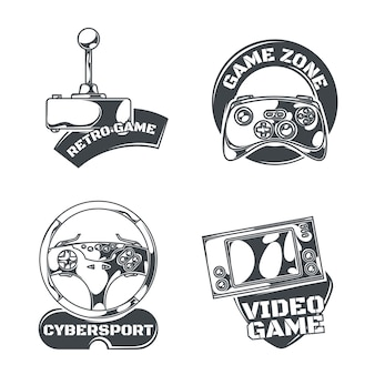 Ensemble d'emblèmes de jeux vidéo, étiquettes, badges, logos. isolé sur blanc