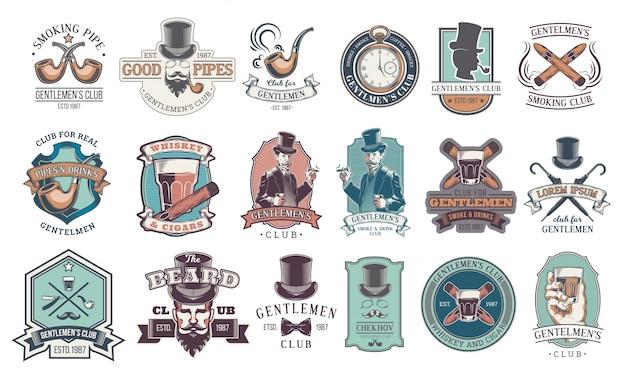 Ensemble d'emblèmes masculins, étiquettes.