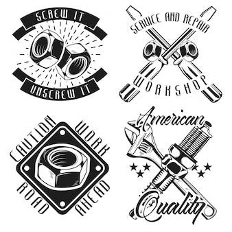 Ensemble d'emblèmes de mécanicien vintage