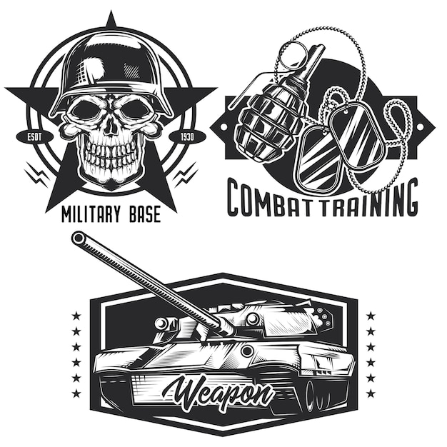 Ensemble d'emblèmes militaires, étiquettes, badges, logos. isolé sur blanc