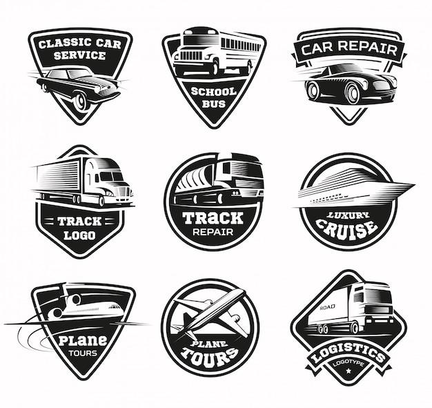 Ensemble d'emblèmes monochromes des modes de transport