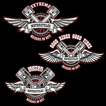 Ensemble d'emblèmes de moto personnalisés vintage