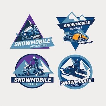 Ensemble d'emblèmes de motoneige d'hiver moderne coloré, insignes